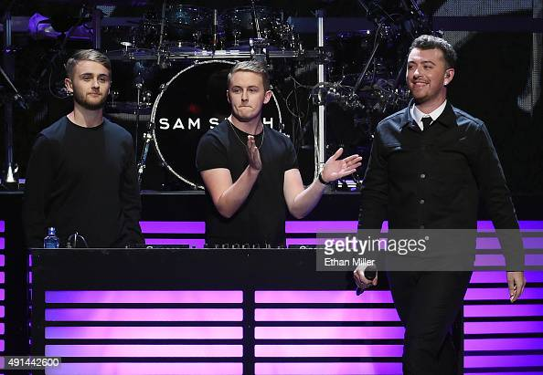 Recording artists Howard Lawrence and Guy Lawrence of Disclosure and singer/songwriter Sam Smith perform at the 2015 iHeartRadio Music Festival at...
