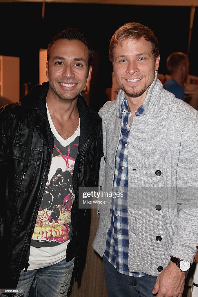 Recording artists Howie Durough (L) and <a gi-track='captionPersonalityLinkClicked' href=/galleries/search?phrase=Brian+Littrell&family=editorial&specificpeople=215310 ng-click='$event.stopPropagation()'>Brian Littrell</a> attend The 40th American Music Awards - EKOCYCLE Gift Suite Day 2 at Nokia Theatre L.A. Live on November 17, 2012 in Los Angeles, California.