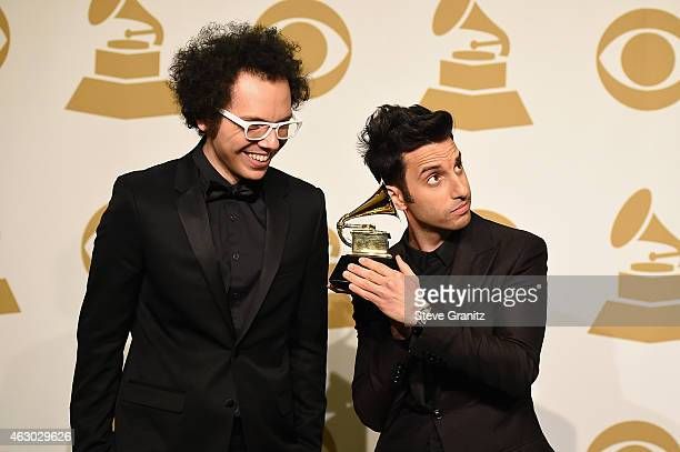 Recording artists Ian Axel and Chad Vaccarino of music group A Great Big World pose in the Deadline Photo Room during The 57th Annual GRAMMY Awards...