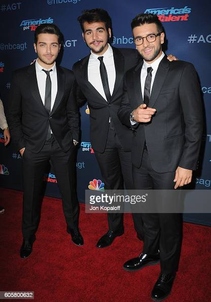 Recording artists Ignazio Boschetto Gianluca Ginoble and Piero Barone of Il Volo arrive at 'America's Got Talent' Season 11 Finale Live Show at Dolby...