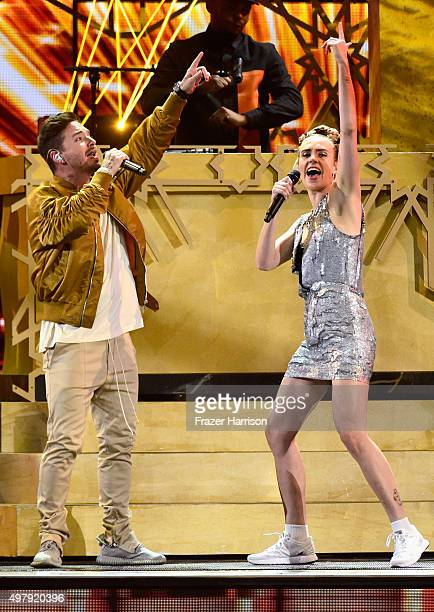 Recording artists J Balvin and MO peform onstage during the 16th Latin GRAMMY Awards at the MGM Grand Garden Arena on November 19 2015 in Las Vegas...