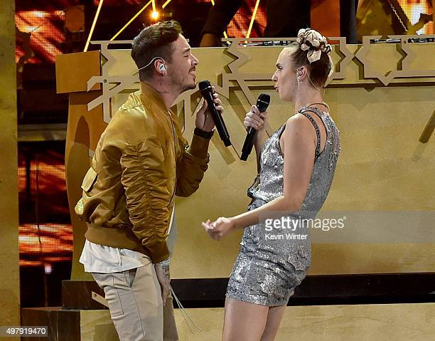 Recording artists J Balvin and MO perform onstage during the 16th Latin GRAMMY Awards at the MGM Grand Garden Arena on November 19 2015 in Las Vegas...