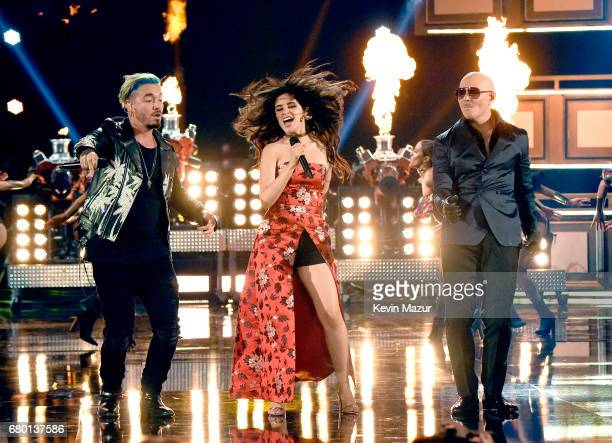 Recording artists J Balvin Camila Cabello and Pitbull perform onstage during the 2017 MTV Movie And TV Awards at The Shrine Auditorium on May 7 2017...