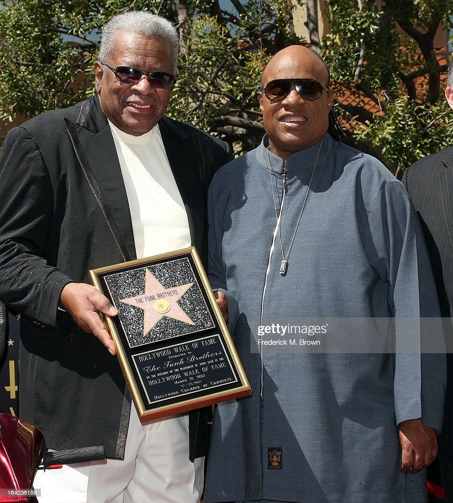Recording artists Jack Ashford (L) and <a gi-track='captionPersonalityLinkClicked' href=/galleries/search?phrase=Stevie+Wonder&family=editorial&specificpeople=171911 ng-click='$event.stopPropagation()'>Stevie Wonder</a> during the ceremony honoring The Funk Brothers on The Hollywood Walk Of Fame on March 21, 2013 in Hollywood, California.