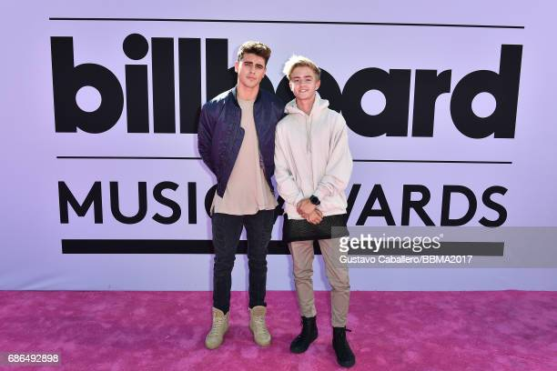 Recording artists Jack Gilinsky and Jack Johnson of music group Jack Jack attend the 2017 Billboard Music Awards at TMobile Arena on May 21 2017 in...