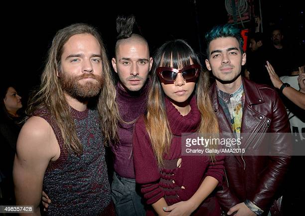 Recording artists Jack Lawless Cole Whittle JinJoo Lee and Joe Jonas of DNCE attend the 2015 American Music Awards at Microsoft Theater on November...