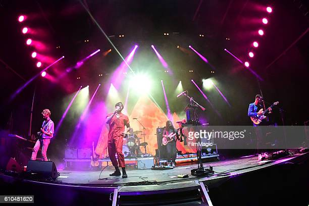 Recording artists Jacob Tilley Sameer Gadhia Francois Comtois Payam Doostzadeh and Eric Cannata of Young the Giant perform on Ambassador Stage during...