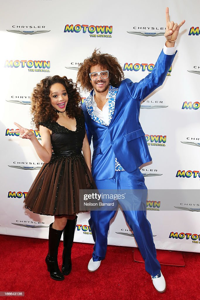 Recording artists Jada Grace (L) and Stefan Kendal Gordy aka RedFoo attend the Broadway opening night for 'Motown: The Musical' at Lunt-Fontanne Theatre on April 14, 2013 in New York City.