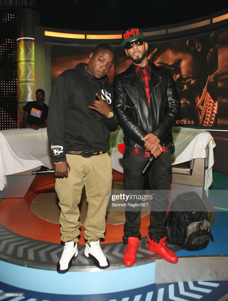 Recording artists Jadakiss and Swizz Beatz visit 106 & Park at 106 & Park studio on October 22, 2013 in New York City.