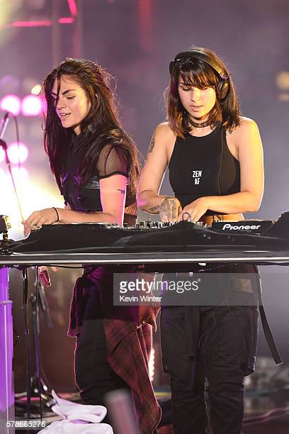 Recording artists Jahan Yousaf and Yasmine Yousaf of musical group Krewella perform onstage at the MTV Fandom Awards San Diego at PETCO Park on July...