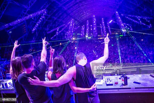 Recording artists Jahan Yousaf Leighton James Yasmine Yousaf and Christian Srigley of Krewella and Adventure Club perform at the Coachella Valley...
