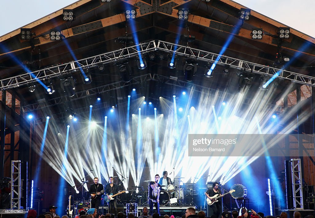 Recording artists James Adam Shelley Zac Barnett Dave Rublin and Matt Sanchez of music group American Authors perform onstage at the HGTV Lodge...