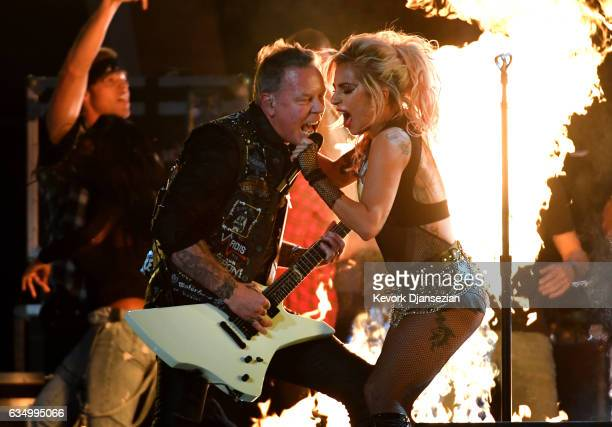 Recording artists James Hetfield and Lady Gaga perform onstage during The 59th GRAMMY Awards at STAPLES Center on February 12 2017 in Los Angeles...