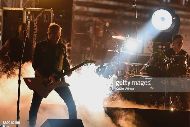 Recording artists James Hetfield and Lars Ulrich of music group Metallica perform onstage during The 59th GRAMMY Awards at STAPLES Center on February...