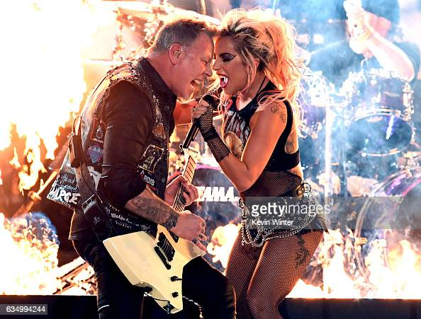 Recording artists James Hetfield of music group Metallica and Lady Gaga perform onstage during The 59th GRAMMY Awards at STAPLES Center on February...