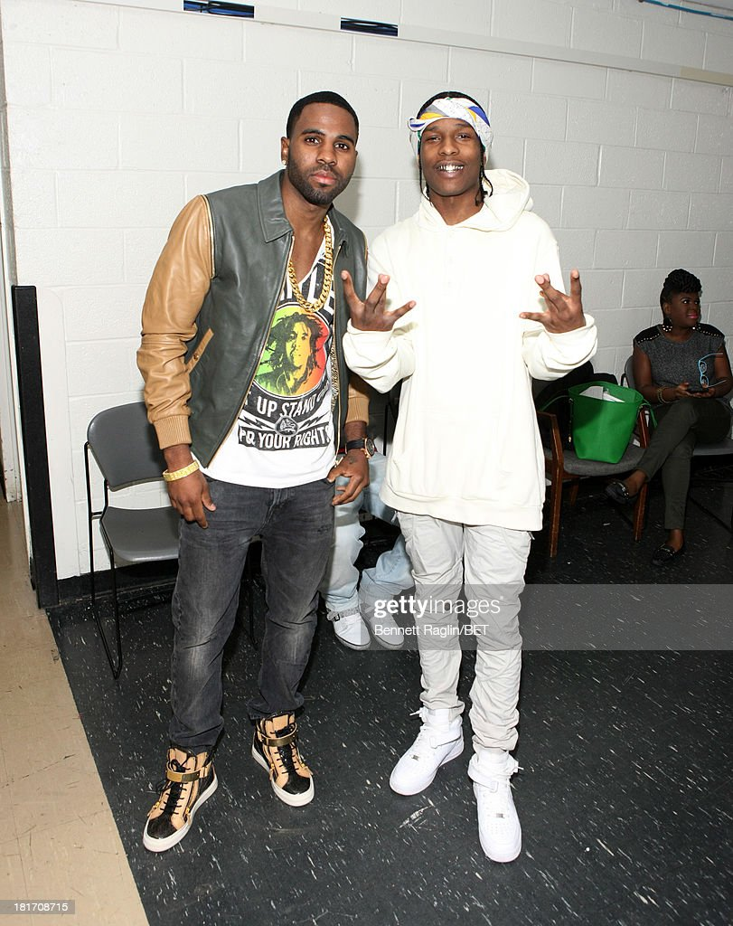 Recording artists <a gi-track='captionPersonalityLinkClicked' href=/galleries/search?phrase=Jason+Derulo&family=editorial&specificpeople=5745869 ng-click='$event.stopPropagation()'>Jason Derulo</a> and A$AP Rocky visit 106 & Park at 106 & Park Studio on September 23, 2013 in New York City.