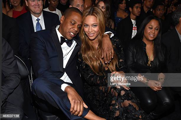 Recording Artists Jay Z and Beyonce attend The 57th Annual GRAMMY Awards at the STAPLES Center on February 8 2015 in Los Angeles California