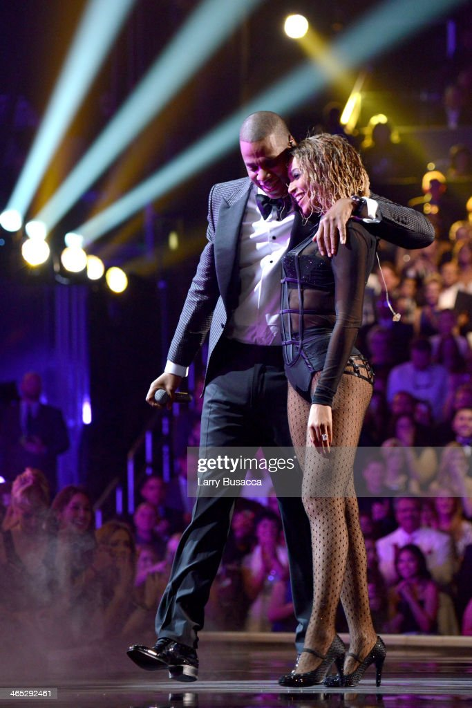 Recording artists Jay Z and Beyonce perform onstage during the 56th GRAMMY Awards at Staples Center on January 26, 2014 in Los Angeles, California.