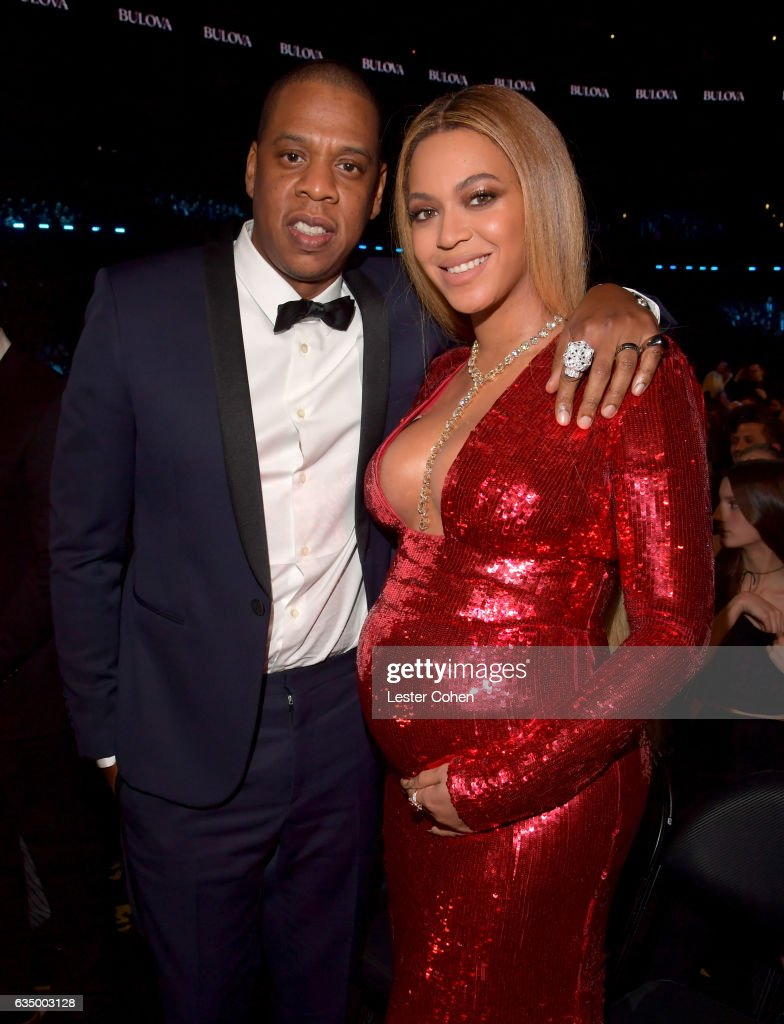Recording artists Jay Z (L) and Beyonce pose during The 59th GRAMMY Awards at STAPLES Center on February 12, 2017 in Los Angeles, California.