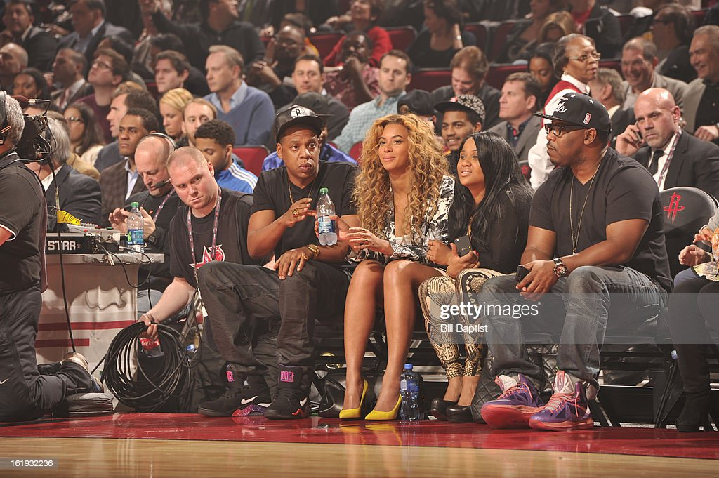 Recording Artists, Jay-Z and Beyonce, attend the 2013 NBA All-Star Game on February 17, 2013 at Toyota Center in Houston, Texas.