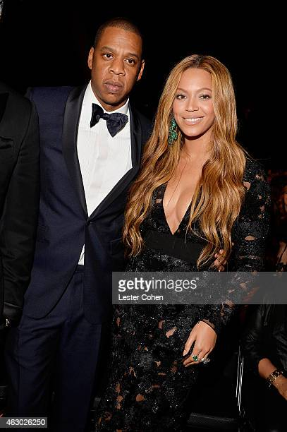 Recording artists JayZ and Beyonce during The 57th Annual GRAMMY Awards at the STAPLES Center on February 8 2015 in Los Angeles California