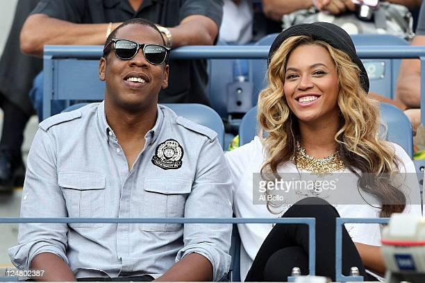 Recording artists JayZ and Beyonce watch Rafael Nadal of Spain and Novak Djokovic of Serbia play during the Men's Final on Day Fifteen of the 2011 US...