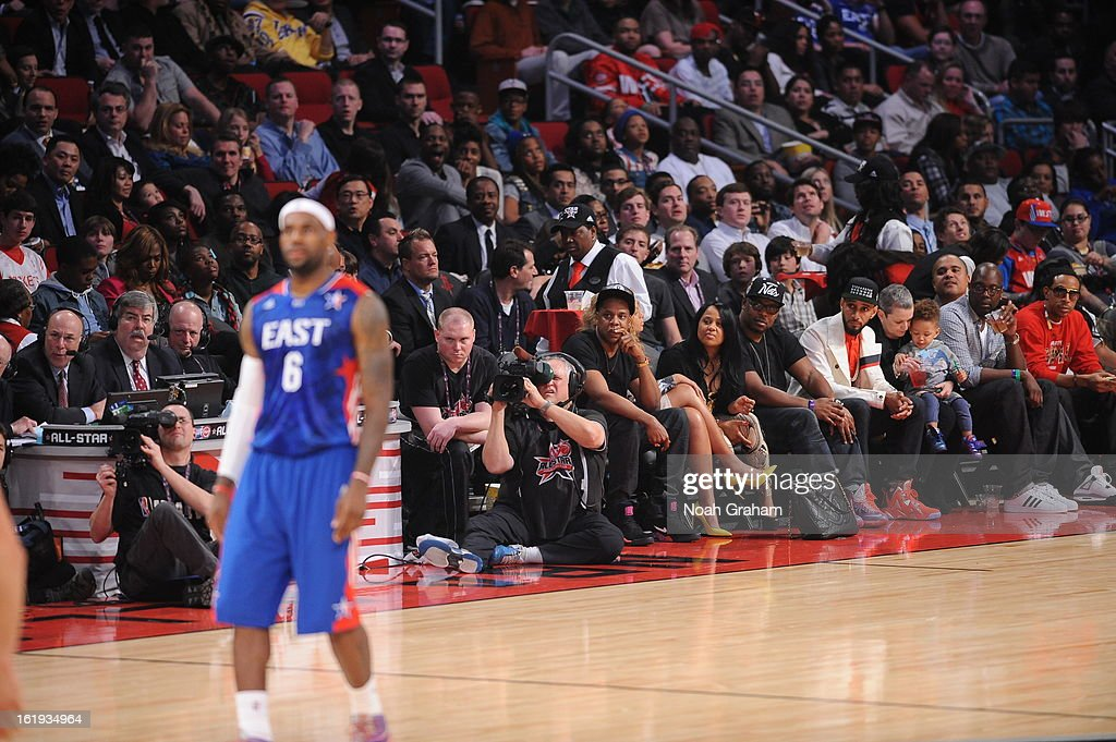 Recording artists Jay-Z, and Swizz Beatz sit courtside during the 2013 NBA All-Star Game presented by Kia on February 17, 2013 at the Toyota Center in Houston, Texas.