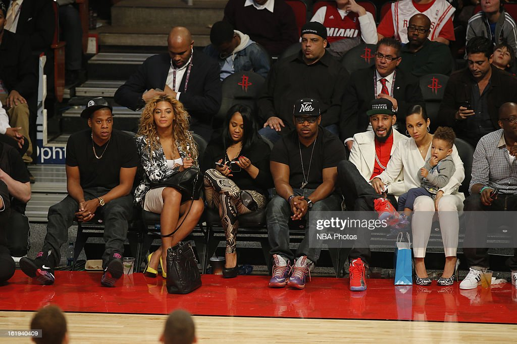 Recording Artists Jay-Z,Beyoncé Knowles,Swizz Beatz,Alicia Keys all look on during 2013 NBA All-Star Game on February 17, 2013 at Toyota Center in Houston, Texas.