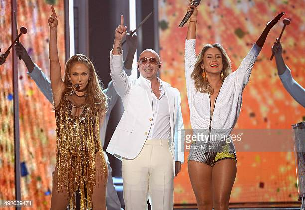 Recording artists Jennifer Lopez Pitbull and Claudia Leitte perform onstage during the 2014 Billboard Music Awards at the MGM Grand Garden Arena on...