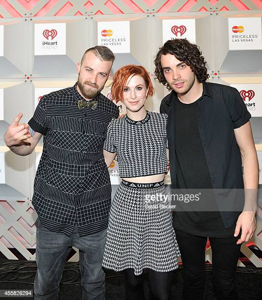 Recording artists Jeremy Davis Hayley Williams and Taylor York of music group Paramore attend the 2014 iHeartRadio Music Festival at the MGM Grand...