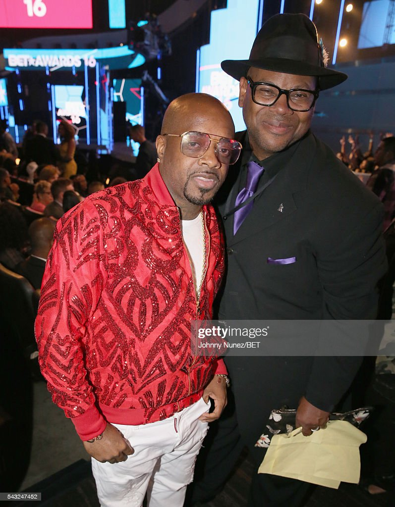 Recording artists <a gi-track='captionPersonalityLinkClicked' href=/galleries/search?phrase=Jermaine+Dupri&family=editorial&specificpeople=201712 ng-click='$event.stopPropagation()'>Jermaine Dupri</a> (L) and <a gi-track='captionPersonalityLinkClicked' href=/galleries/search?phrase=Jimmy+Jam&family=editorial&specificpeople=211251 ng-click='$event.stopPropagation()'>Jimmy Jam</a> attend the 2016 BET Awards at the Microsoft Theater on June 26, 2016 in Los Angeles, California.