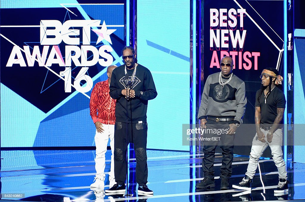 Recording artists <a gi-track='captionPersonalityLinkClicked' href=/galleries/search?phrase=Jermaine+Dupri&family=editorial&specificpeople=201712 ng-click='$event.stopPropagation()'>Jermaine Dupri</a>, <a gi-track='captionPersonalityLinkClicked' href=/galleries/search?phrase=Snoop+Dogg&family=editorial&specificpeople=175943 ng-click='$event.stopPropagation()'>Snoop Dogg</a>, Birdman and Jacquees speak onstage during the 2016 BET Awards at the Microsoft Theater on June 26, 2016 in Los Angeles, California.