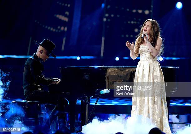 Recording artists Jesse Huerta and Joy Huerta of Jesse y Joy perform onstage during The 17th Annual Latin Grammy Awards at TMobile Arena on November...