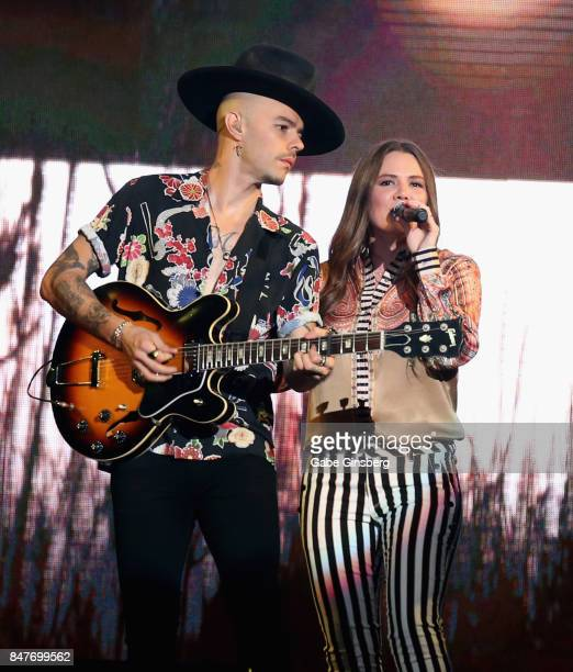 Recording artists Jesse Huerta and Joy Huerta of Jesse y Joy perform at the Mandalay Bay Events Center on September 15 2017 in Las Vegas Nevada