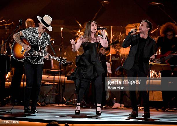 Recording artists Jesse Huerta and Joy Huerta of Jesse y Joy with Fonseca perform onstage during the 2016 Person of the Year honoring Marc Anthony at...