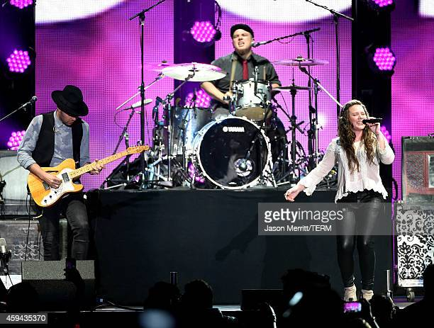 Recording artists Jesse Huerta and Joy Huerta of music group Jesse Joy perform onstage during the iHeartRadio Fiesta Latina festival presented by...