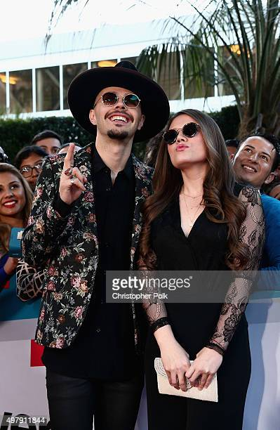Recording artists Jesse Huerta and Joy Huerta of music group Jesse y Joy attend the 16th Latin GRAMMY Awards at the MGM Grand Garden Arena on...