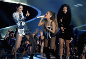 Recording artists Jessie J Ariana Grande and Nicki Minaj perform onstage during the 2014 MTV Video Music Awards at The Forum on August 24 2014 in...