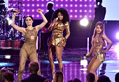 Recording artists Jessie J Nicki Minaj and Ariana Grande perform onstage at the 2014 American Music Awards at Nokia Theatre LA Live on November 23...