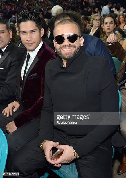 Recording artists Jesus Alberto Miranda Perez and Miguel Ignacio Mendoza of Chino y Nacho attend the 16th Latin GRAMMY Awards at the MGM Grand Garden...