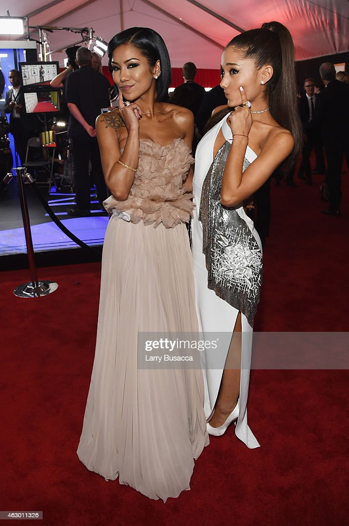 Recording Artists Jhene Aiko and Ariana Grande attend The 57th Annual GRAMMY Awards at the STAPLES Center on February 8 2015 in Los Angeles California
