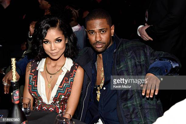 Recording artists Jhene Aiko and Big Sean the iHeartRadio Music Awards which broadcasted live on TBS TNT AND TRUTV from The Forum on April 3 2016 in...