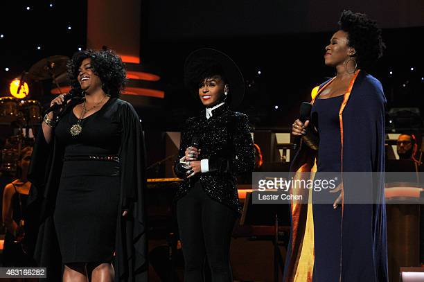 Recording artists Jill Scott Janelle Monae and IndiaArie perform onstage during Stevie Wonder Songs In The Key Of Life An AllStar GRAMMY Salute at...