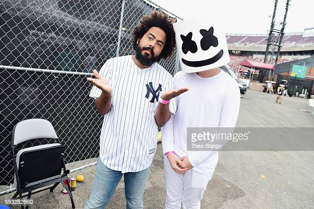 Recording artists Jillionaire and Marshmello pose backstage during the 2016 Billboard Hot 100 Festival Day 2 at Nikon at Jones Beach Theater on...