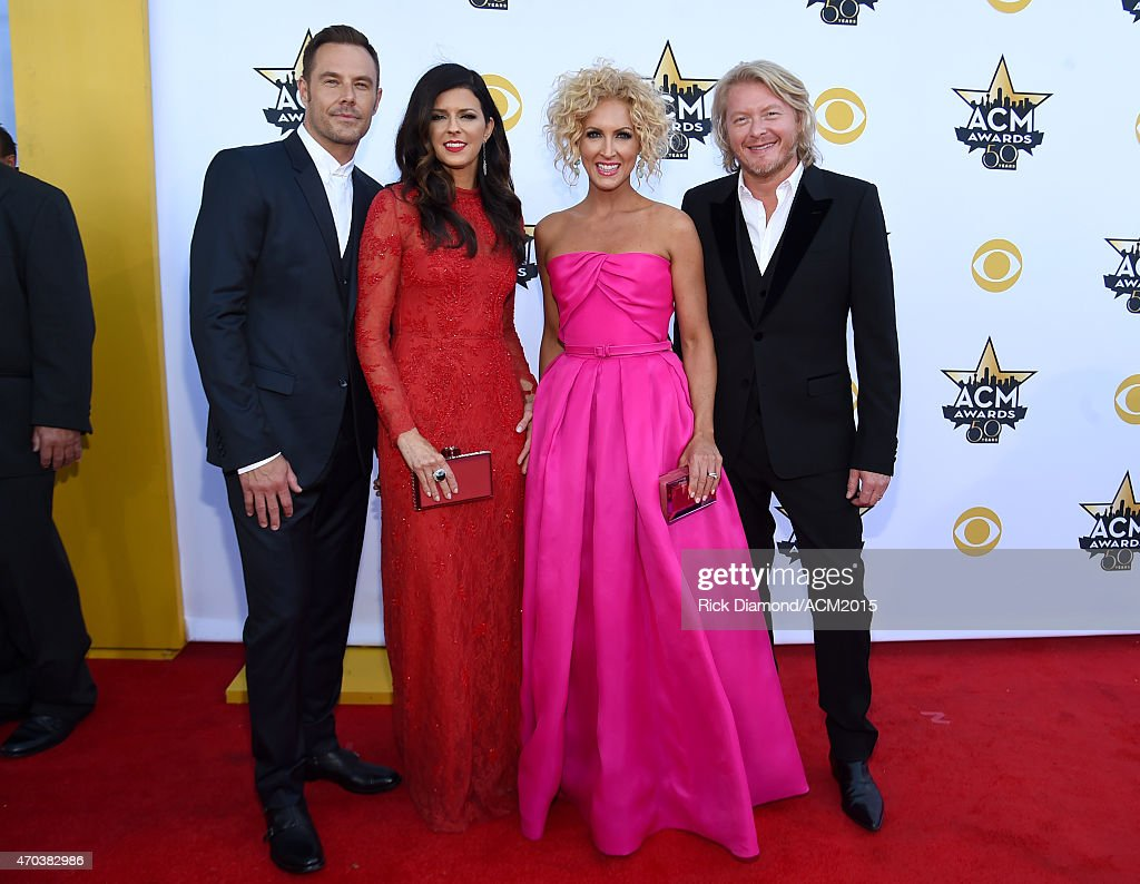Recording artists Jimi Westbrook Karen Fairchild Kimberly Schlapman and Phillip Sweet of music group Little Big Town attend the 50th Academy of...