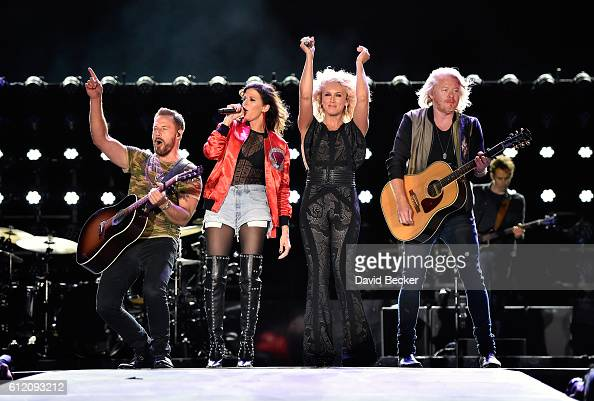 Recording artists Jimi Westbrook Karen Fairchild Kimberly Schlapman and Phillip Sweet of Little Big Town perform during the Route 91 Harvest country...