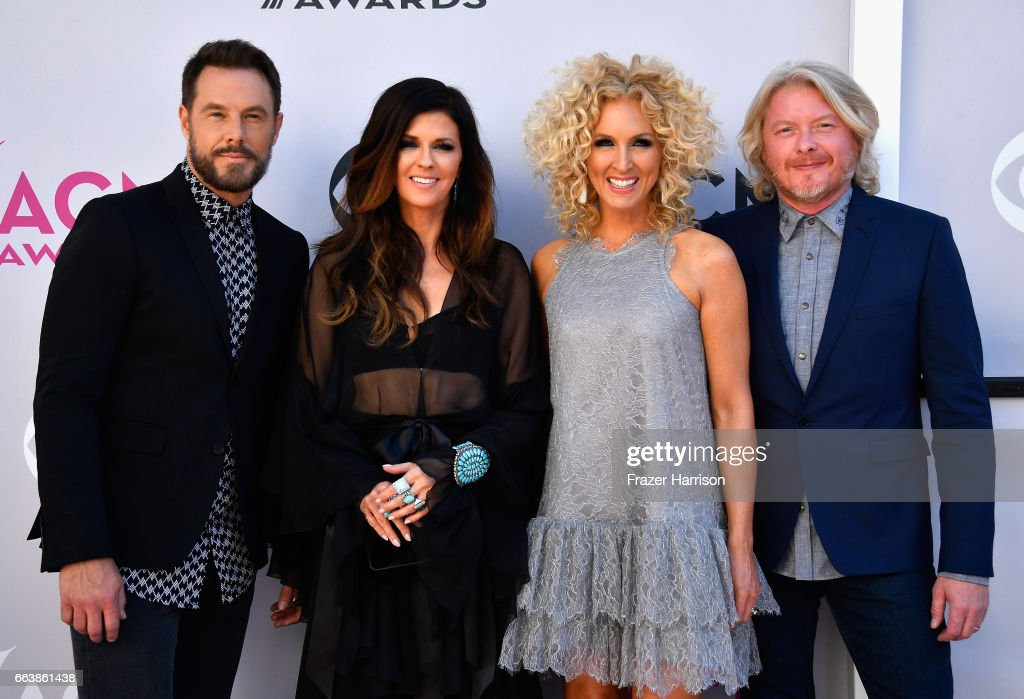 Recording artists Jimi Westbrook, Karen Fairchild, Kimberly Schlapman, and Phillip Sweet of music group Little Big Town attend the 52nd Academy Of Country Music Awards at Toshiba Plaza on April 2, 2017 in Las Vegas, Nevada.