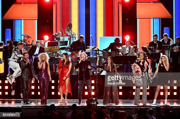Recording artists Jimi Westbrook Kimberly Schlapman Karen Fairchild and Philip Sweet of music group Little Big Town and recording artists Demi Lovato...