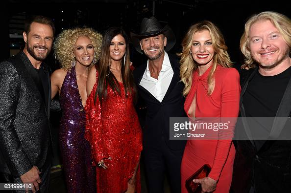 Recording artists Jimi Westbrook Kimberly Schlapman Karen Fairchild of Little Big Town Tim McGraw Faith Hill and Philip Sweet attend The 59th GRAMMY...