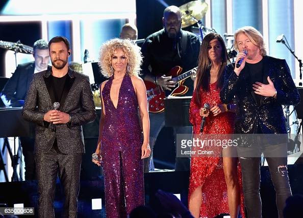 Recording artists Jimi Westbrook Kimberly Schlapman Karen Fairchild and Philip Sweet of Little Big Town perform onstageduring The 59th GRAMMY Awards...